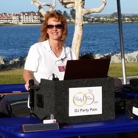 Party Pam with her mobile equipment rig at an outdoor event
