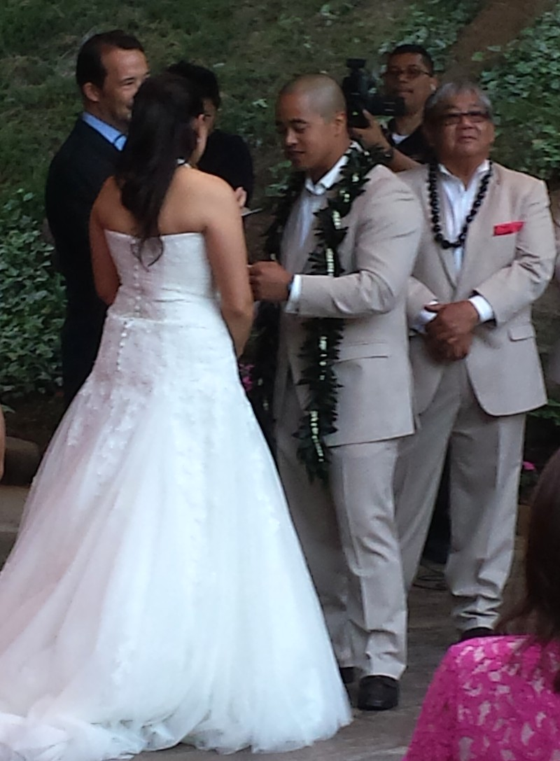 Pala Mesa couple giving wedding vows